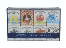 Winsor & Newton Henry Drawing Ink Collection of 8 Assorted Colours 1090093