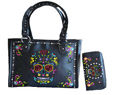 skull handbags for women fashion embroidered floral purse wallet bling studs