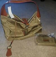 New Dooney & Bourke Nylon Hobo with Logo Lock & Accessories in khaki