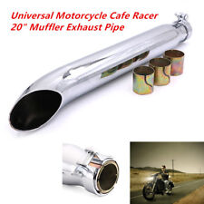 """50cm Length Retro Style Motorcycle Cafe Racer 20"""" Muffler Exhaust Pipe Silver"""