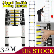 3.2M 10.5FT Aluminum Telescopic Telescoping Collapsible Loft Ladder Extendable