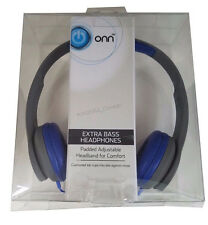 On-Ear Headphones with Extra Bass, Padded, Adjustable, Wired - Gray/Blue by onn