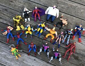 1994-1999 Marvel Lot of 18 X-Men Action Figures Toy Biz Wolverine Cpt America