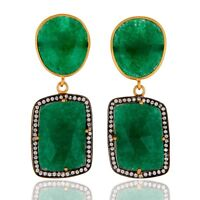 Green Aventurine White Zircon 925 Sterling Silver Earrings Gemstone Jewelry