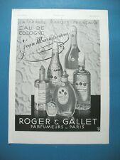PUBLICITE DE PRESSE ROGER & GALLET PARFUM EAU DE COLOGNE JEAN MARIE FARINA 1931