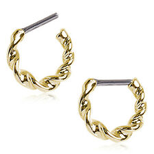 Clicker 16 Ga Fsh Gold Plated Twisted Septum
