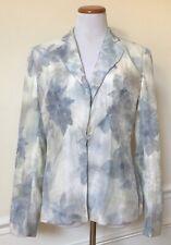 GIORGIO ARMANI White Blue Watercolor Floral Woven Jacket Blazer Coat Italy 10