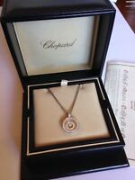 CHOPARD HAPPY SPIRIT DIAMOND 18KT WHITE GOLD NECKLACE. FLOATING PENDANT