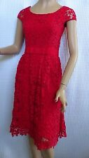 SIZE-8/10, COLLETTE DINNIGAN Gorgeous Scarlet Red Lace Dress.
