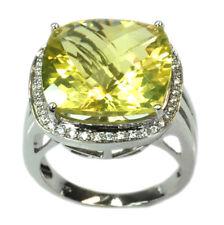 De Buman Sterling Silver 14.60ctw Cushion Lemon Quartz Ring, Size 8
