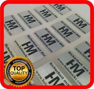 Ihr Logo und Text auf 500 Hologramm Etiketten Garantie Siegel Aufkleber 21x12mm