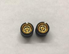 Hot wheels 1/64 Set > Gold 4 SPOKE 10MM++ RUBBER WHEEL / TIRES JDM