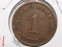 XF 1899-E German Empire 1 Pfennig.  #21