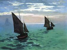 Claude Monet Le Havre Sortie des Bateaux de pêche du port vieux Peinture Imprimer 537omlv