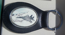 Key Ring Leather Barlow Scrimshaw Carved Painted Jet Fighter Airplane 330445c