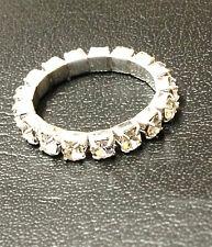 Stretch RING Zehenring Silber Strass Bling kristallklar Fuß Schmuck elastisch