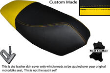 YELLOW & BLACK CUSTOM FITS APRILIA RALLY 50 DUAL LEATHER SEAT COVER