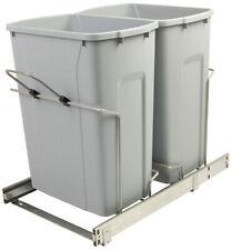 Kv Fescb15 2 35pt Soft Close Bottom Mount Waste Bins Double Bin 35qt Platinum, P