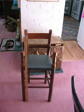 highchair antique wood and leather