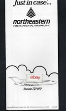 NORTHEASTERN INTERNATIONAL AIRWAYS INC BOEING 727-100 SAFETY CARD 1983