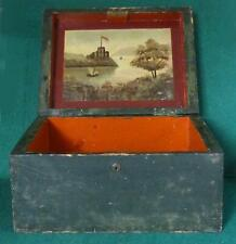 19TH CENT. PAINTED BOX WITH PAINTING OF WEST POINT & HUDSON RIVER INSIDE LID