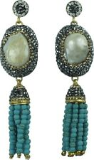 Handmade Baroque Pearl 18K Gold Plated Silver with Turquoise Tassel Earrings