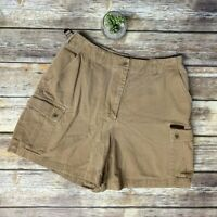 VTG Lauren Ralph Lauren Beige Tan Camp Cargo Shorts High Rise 90s Womens Size 8
