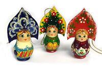 Hand Painted Russian Wood Christmas Ornament Girl With Kokoshnik 3 1/4 Inch
