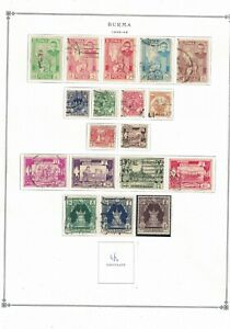 burma stamps -1948-49 album page -definitives- mint LH 5 rupees other good used