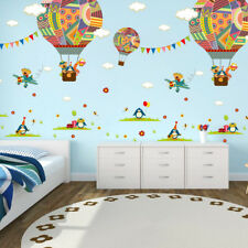 colorful hot air balloon bear  nursery room wall sticker kids room decal o1w
