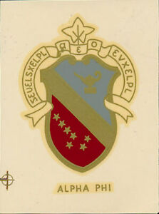 Alpha Phi Sorority _RARE_ Original 1960's Shield Decal/Sticker VTG Coat of Arms