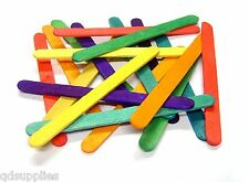 1000 Assorted Colour Wooden Lolly Sticks Standard Craft Size Bulk Pack 7068