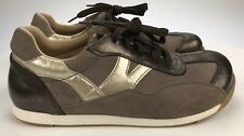 Birkenstock Women's 40 NARROW Grey/Bronze Suede Leather Casual Lace Up Sneakers