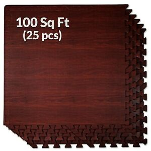 "100 SqFt 3/8"" EVA Dark Wood Grain Foam Floor Mat Interlocking Flooring 25 pcs"