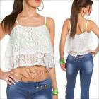 SEXY LOOSE CROP TANK TOP cami S WOMENS LACE SHIRT CASUAL FLORAL summer blouse AU