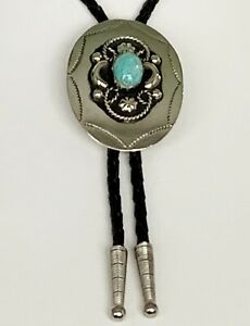 BOLO STRING TIE Pale Gold Oval Turquoise Center Leatherette Cord Western NWOT!