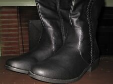 OLIVE STREET ALLANA BRAIDED RIDING BOOTS -- MODEL # WF0026 -- BLACK, SIZE 9M