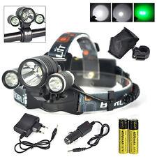 BORUiT Grün Weiß 3LED Stirnlampe Fahrrad Licht Taschenlampe Mit AKKU Ladegerät