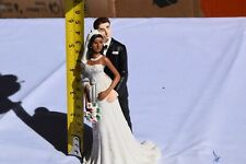 Ethnic Bride w/ White Groom Brown Skin Tone Wedding Cake Topper  jwcaketops b21