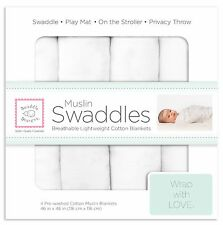 SwaddleDesigns Cotton Muslin Swaddle Blankets - 4pk Pure White - New!
