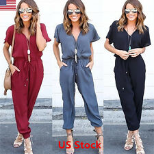 af8438d4da10 Women Clubwear Playsuit Casual Short Sleeve Party Jumpsuit Romper Trousers  Pants