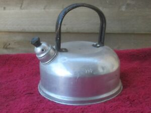 SMALL VINTAGE METAL WHISTLING KETTLE TEA POT, FOR CLASSIC CAMPERVAN CAMPING