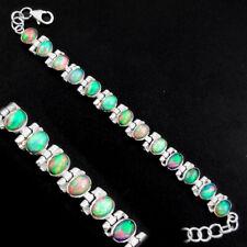 20.22cts Natural Multi Color Ethiopian Opal 925 Silver Tennis Bracelet P96470