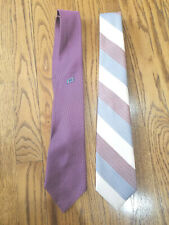 2 Vintage Men's Neck Ties Striped Embroidered Paco Rabanne & Other
