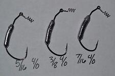 5 Weighted Swimbait Hooks 5/16 3/8 7/16 Mustad 92000BLN SWIM JIG 2 HOOK SIZES