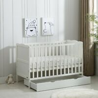 White Wooden Baby Cot Bed & Drawer & Aloe Vera Water repellent Mattress(Orlando)