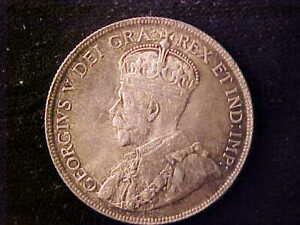 CANADA GEORGE V 50 CENTS 1918 LUSTROUS AU