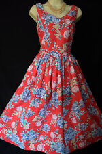 LAURA ASHLEY VINTAGE 1950s FILMSTAR RED FLORAL SUN DRESS, 8 (Label 12)
