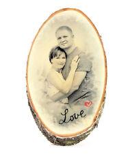Bild Foto auf Holz Baumscheibe Geschenkidee Weihnachten Familienfoto LOVE