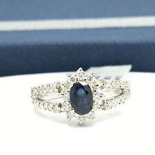 18k White Gold Natural Sapphire Diamond Ring September Birthday